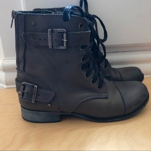 Dolce Vita Leather Combat Boots Gray 7.5 🍁🍂